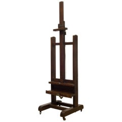 Late 19th C. Adjustable Walnut and Bronze Easel Circa 1890