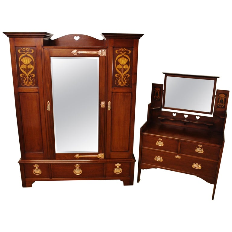 Late 19th Century Arts and Crafts 2 Piece Mahogany Bedroom by Shapland &  Petter