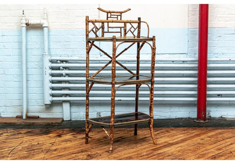 Chinese Chippendale Late 19th Century Bamboo Chippendale Style Lacquer Decorated Etagere For Sale