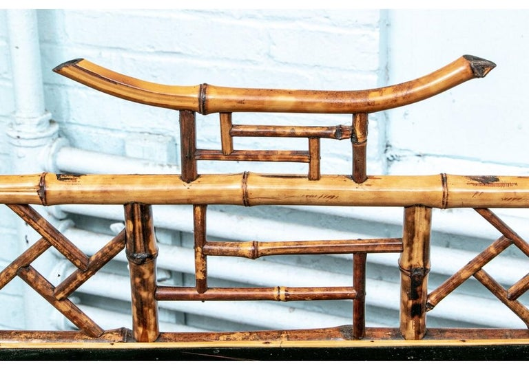 Asian Late 19th Century Bamboo Chippendale Style Lacquer Decorated Etagere For Sale