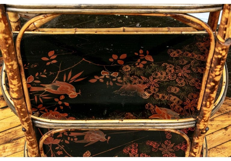 Late 19th Century Bamboo Chippendale Style Lacquer Decorated Etagere For Sale 1