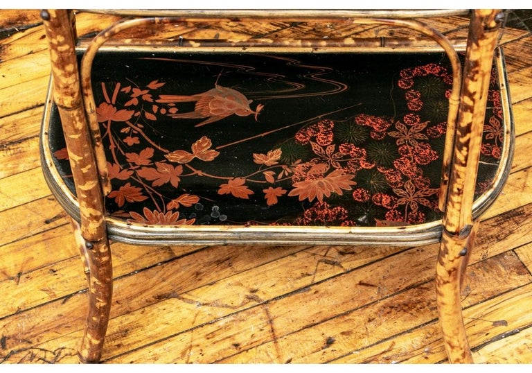 Late 19th Century Bamboo Chippendale Style Lacquer Decorated Etagere For Sale 4