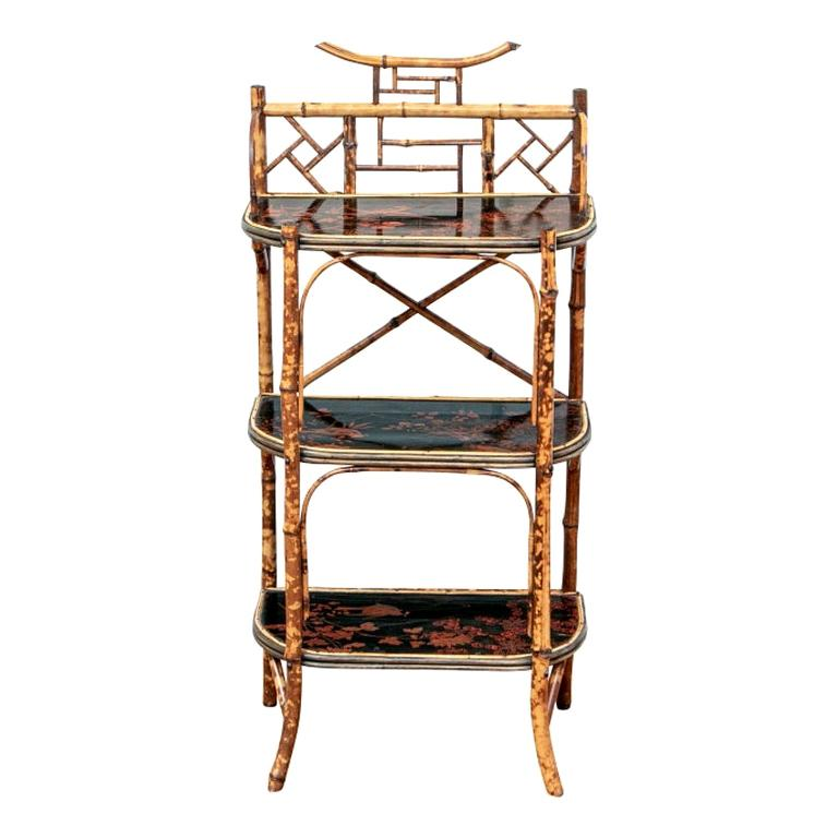 Late 19th Century Bamboo Chippendale Style Lacquer Decorated Etagere For Sale