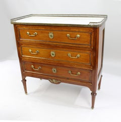 Late 19th c. Brass Galleried Marble Topped Chest of Drawers