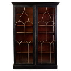 Late 19th C English Black Two Door Bookcase with Gothic Brass Glazing Bars