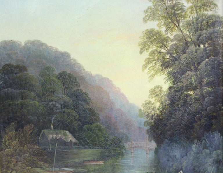 Late 19th Century English Landscape Painting Set in Gilt Frame For Sale 1
