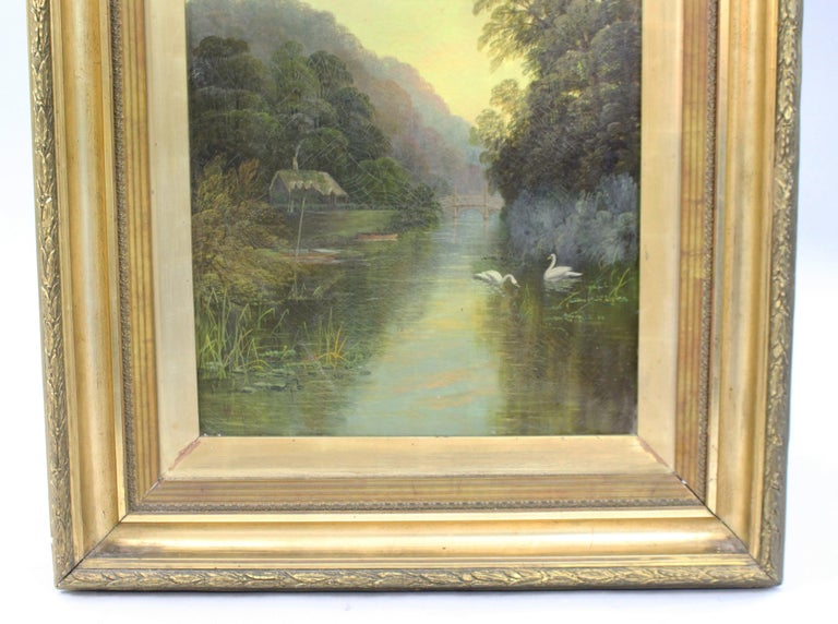 Late 19th Century English Landscape Painting Set in Gilt Frame For Sale 2