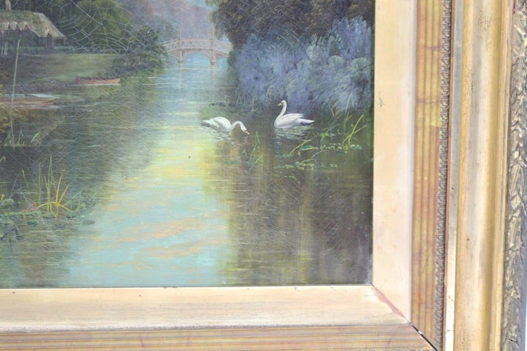 Late 19th Century English Landscape Painting Set in Gilt Frame For Sale 3