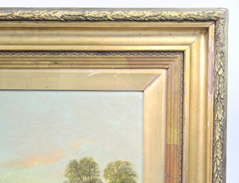 Late 19th Century English Landscape Painting Set in Gilt Frame For Sale 4