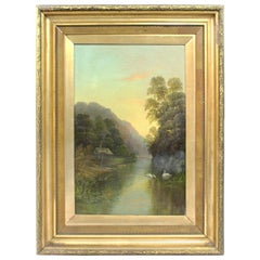 Late 19th Century English Landscape Painting Set in Gilt Frame