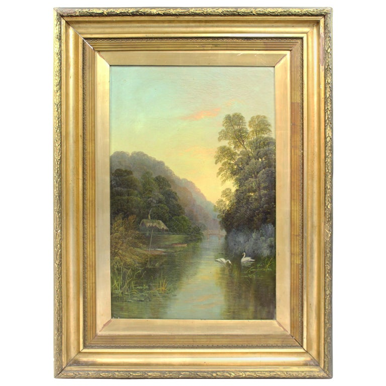 Late 19th Century English Landscape Painting Set in Gilt Frame For Sale