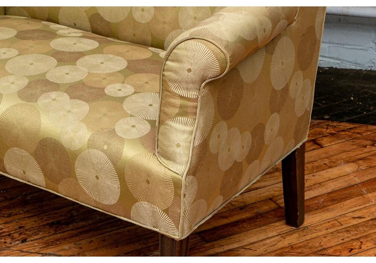 Fabric Late 19th Century English Settee Newly Upholstered For Sale