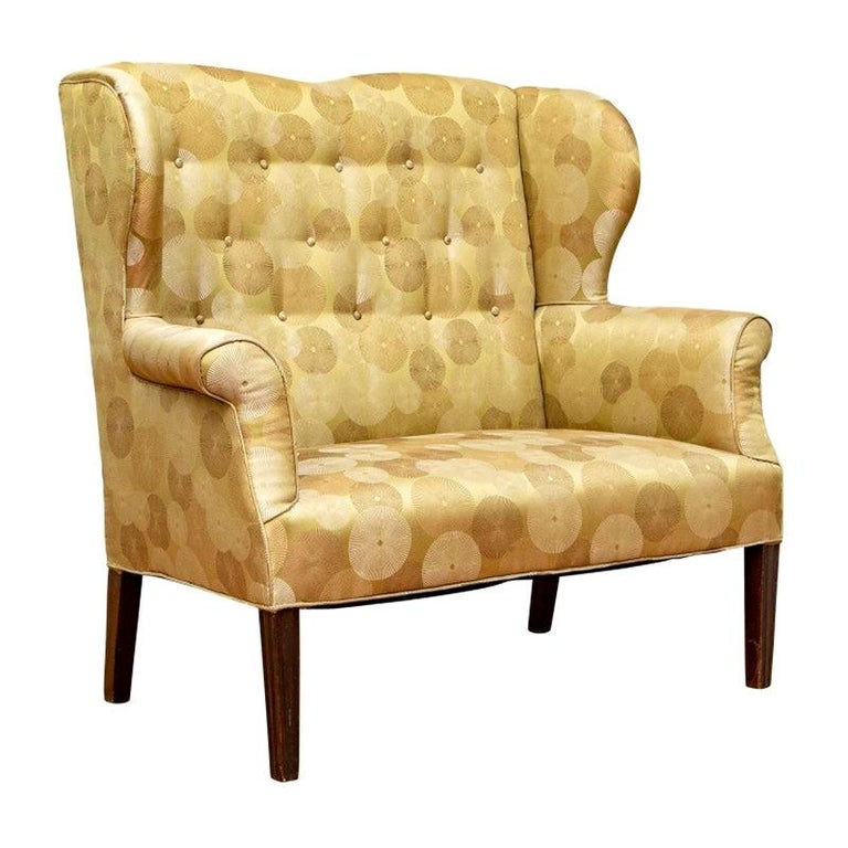 Late 19th Century English Settee Newly Upholstered For Sale