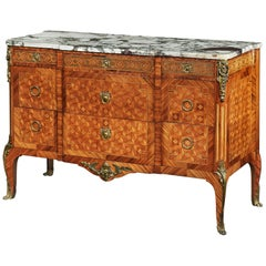 Late 19th Century Gilt Bronze Mounted Tulipwood and Kingwood Marble Topped Comm