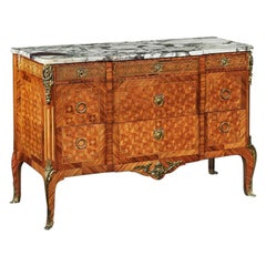 Late 19th Century Gilt Bronze Mounted Tulipwood Kingwood Marble Topped Commode