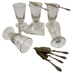 Late 19th C French Hand Blown Faceted Absinthe Glasses & Sugar Spoons, 12 pieces