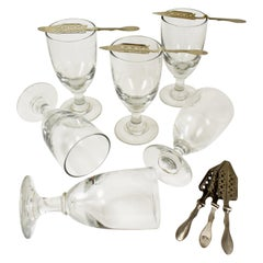 Late 19th Century French Hand Blown Absinthe Glasses & Sugar Spoons 12 Piece Set