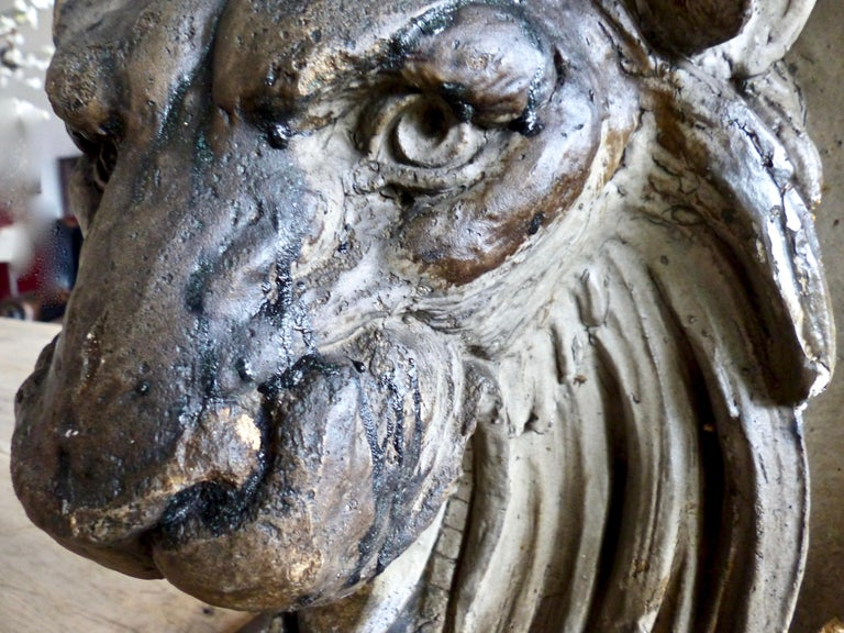 """Beautiful weathered patina on a circa 1880 French limestone decorative lion's head. Currently mounted on a steel stand for ease of display. Architectural salvage found in France. Dimensions 17"""" height x 15"""" diameter."""