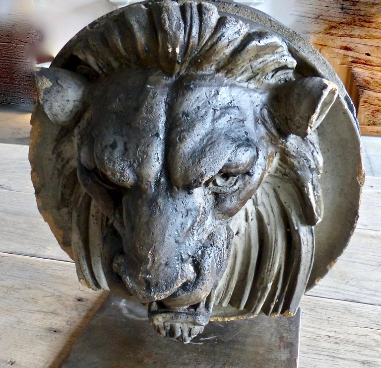 Late 19th Century French Limestone Lion's Head Architectural Salvage For Sale 1