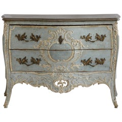 Late 19th Century French Louis XV Style Commode in Blue/Grey & White Highlights