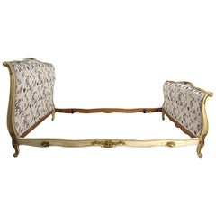 Late 19th Century French White Painted and Gilt Bed Frame