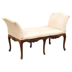 Late 19th C. Italian Wood & Upholstered Window Bench w/Shell Carved Skirt