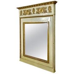 Late 19th Century Large Italian Giltwood Trumeau Mantel Mirror