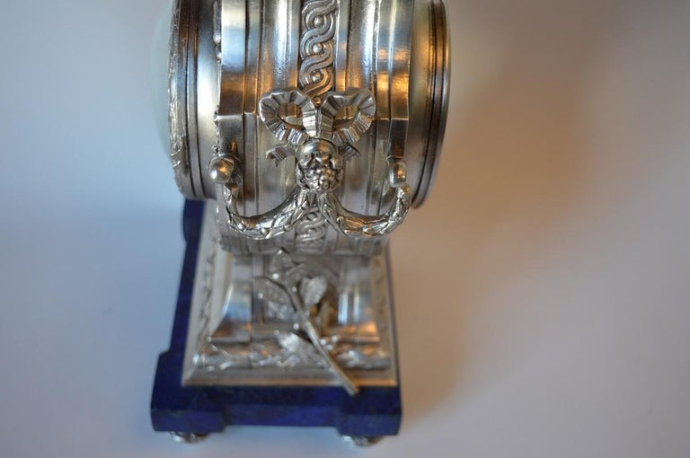 Louis XVI Style Silvered Metal and Lapis Lazuli Mantle Clock by A. For Sale 3