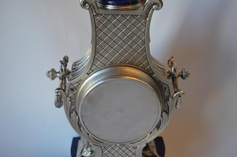 Louis XVI Style Silvered Metal and Lapis Lazuli Mantle Clock by A. For Sale 4