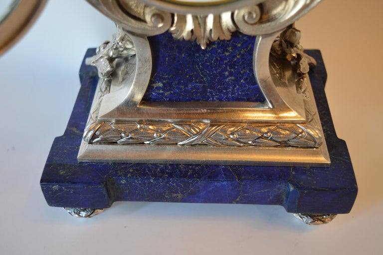 Louis XVI Style Silvered Metal and Lapis Lazuli Mantle Clock by A. For Sale 5