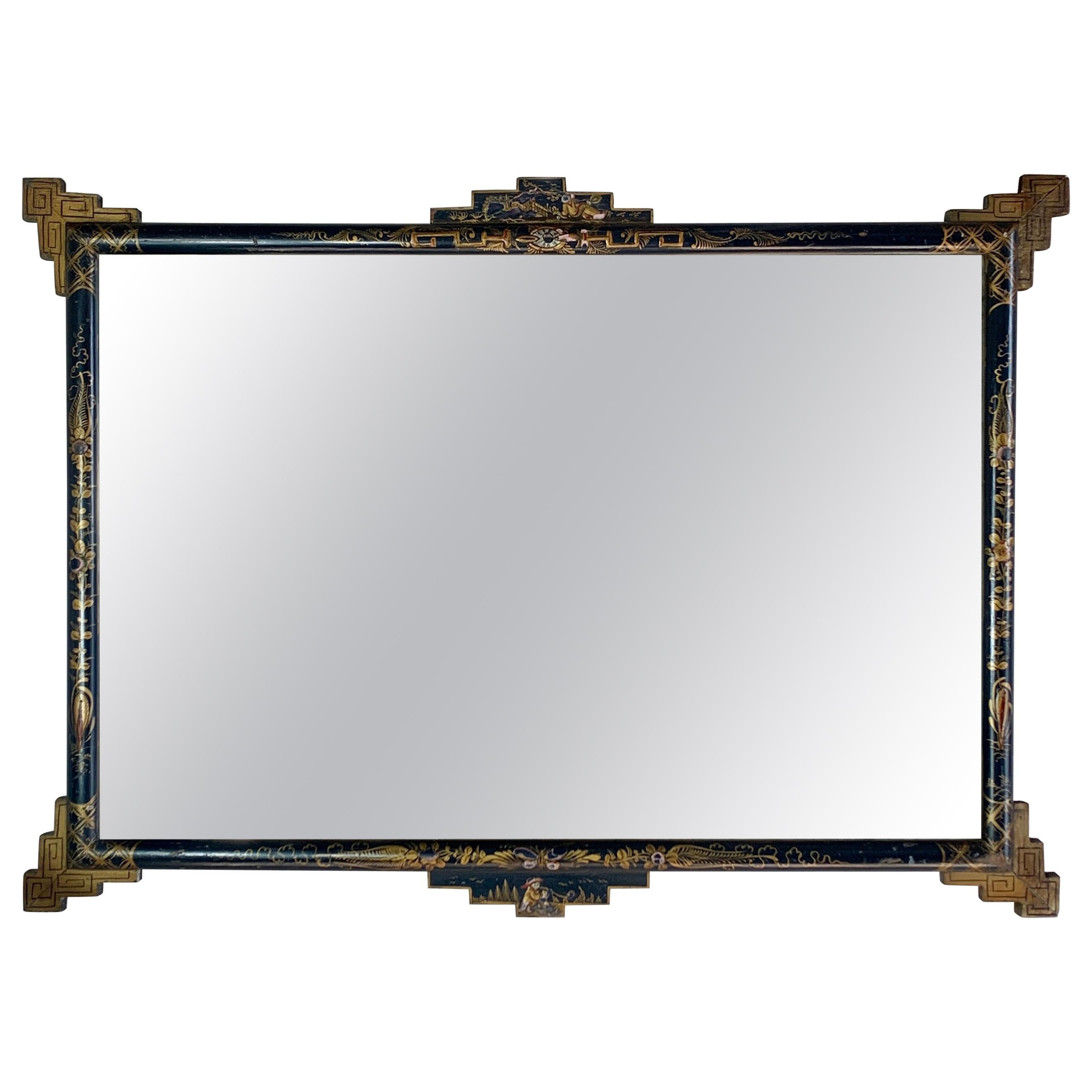 Late 19th C Navy Blue Lacquered Chinoiserie Mirror