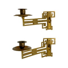 Late 19th C. Pair of Adjustable Brass Piano Sconces Victorian Style Not Wired