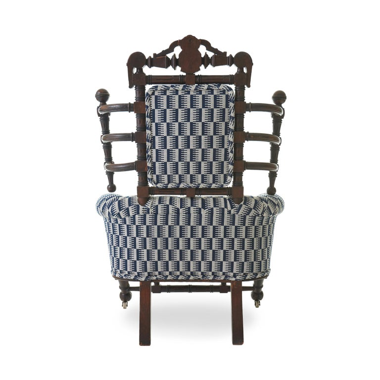 Late 19th Century Renaissance Revival Walnut Armchair by George Hunzinger In Good Condition For Sale In Chicago, IL