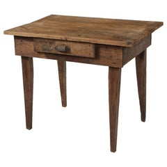 Late 19th C. Rustic Oak Side Table with Drawer