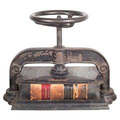 Late 19th C. Victorian Cast Iron Wheel Book Press, c.1890