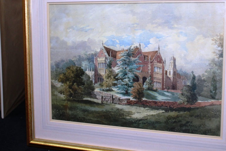 Late 19th Century Watercolor of an English Stately Home In Good Condition For Sale In Worcester, Worcestershire