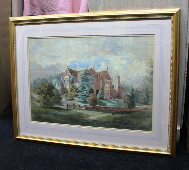 Paint Late 19th Century Watercolor of an English Stately Home For Sale