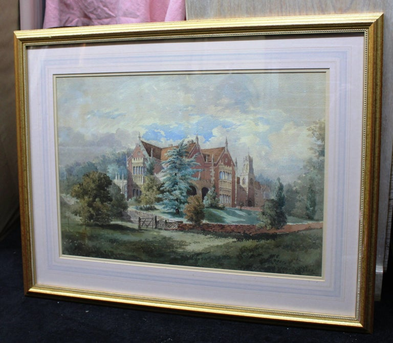 Late 19th Century Watercolor of an English Stately Home For Sale 1