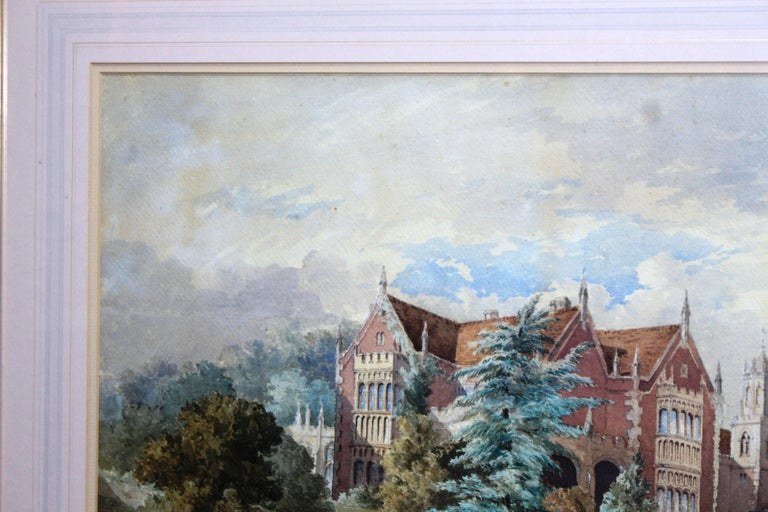 Late 19th Century Watercolor of an English Stately Home For Sale 2