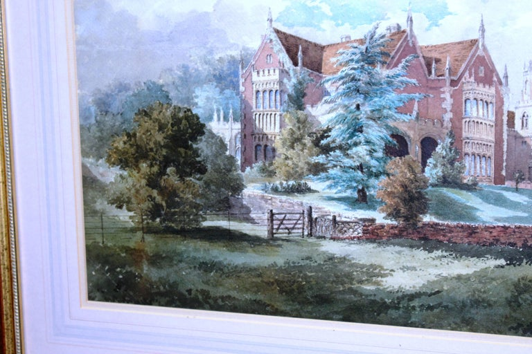Late 19th Century Watercolor of an English Stately Home For Sale 4
