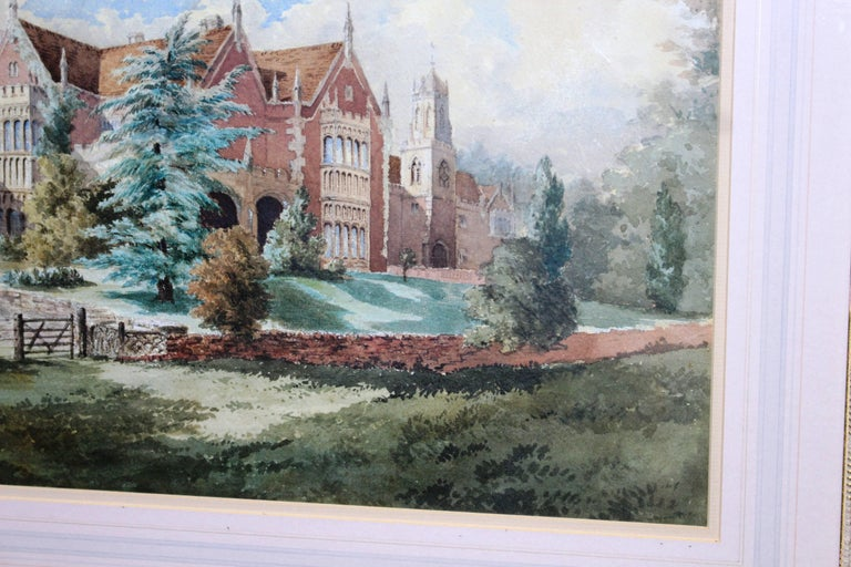 Late 19th Century Watercolor of an English Stately Home For Sale 5