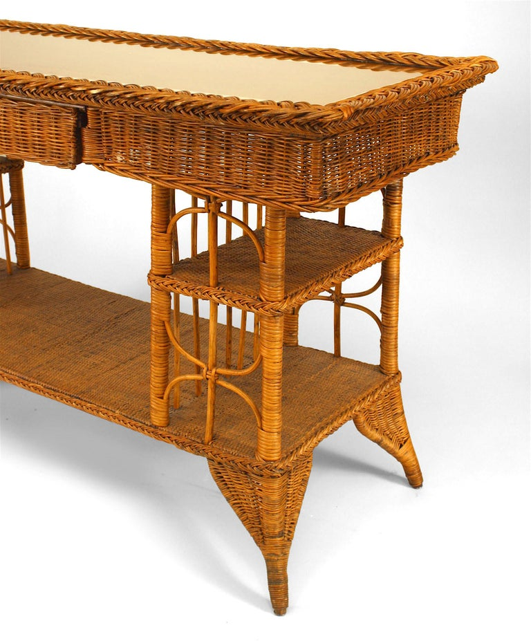 Victorian Late 19th c. Wicker Davenport Table, Attributed to Heywood-Wakefield For Sale