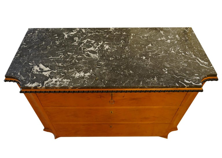 Wood Late 19th Century Austrian Biedermeier Style Marble-Top Chest of Drawers For Sale