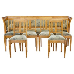 Late 19th Century 7 Piece Burr Birch Living Room Suite