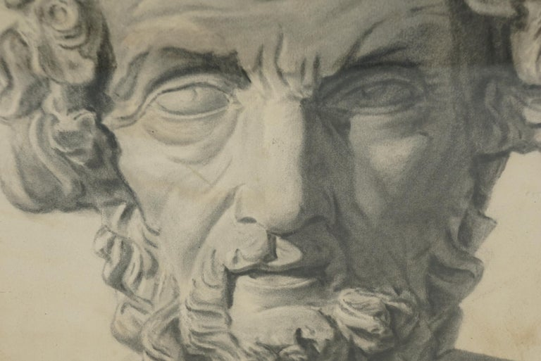 This drawing most likely French comes from the late 19th century, circa 1880. The drawing is well completed and shows the man as a living blind scholar in life and not as a classical bust or a removed station or representation. Techniquely well done