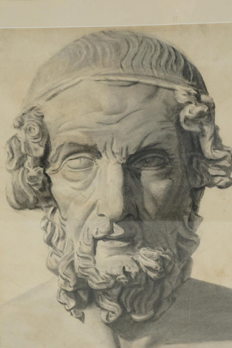 Late 19th Century Academic Drawing of Homer In Good Condition For Sale In Hudson, NY