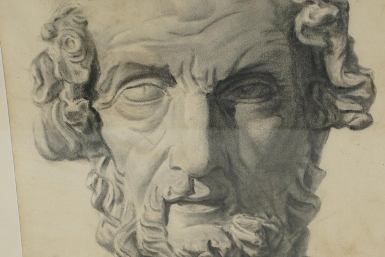 Paper Late 19th Century Academic Drawing of Homer For Sale