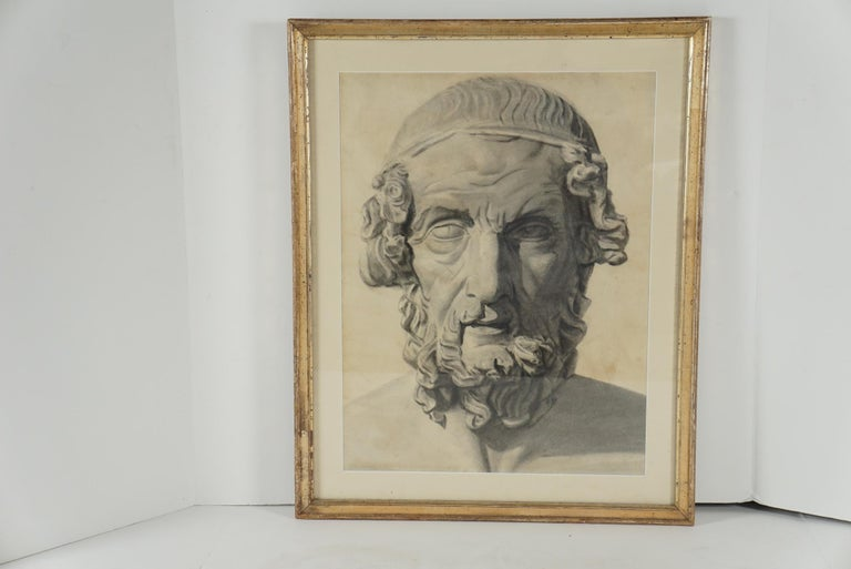 Late 19th Century Academic Drawing of Homer For Sale 2
