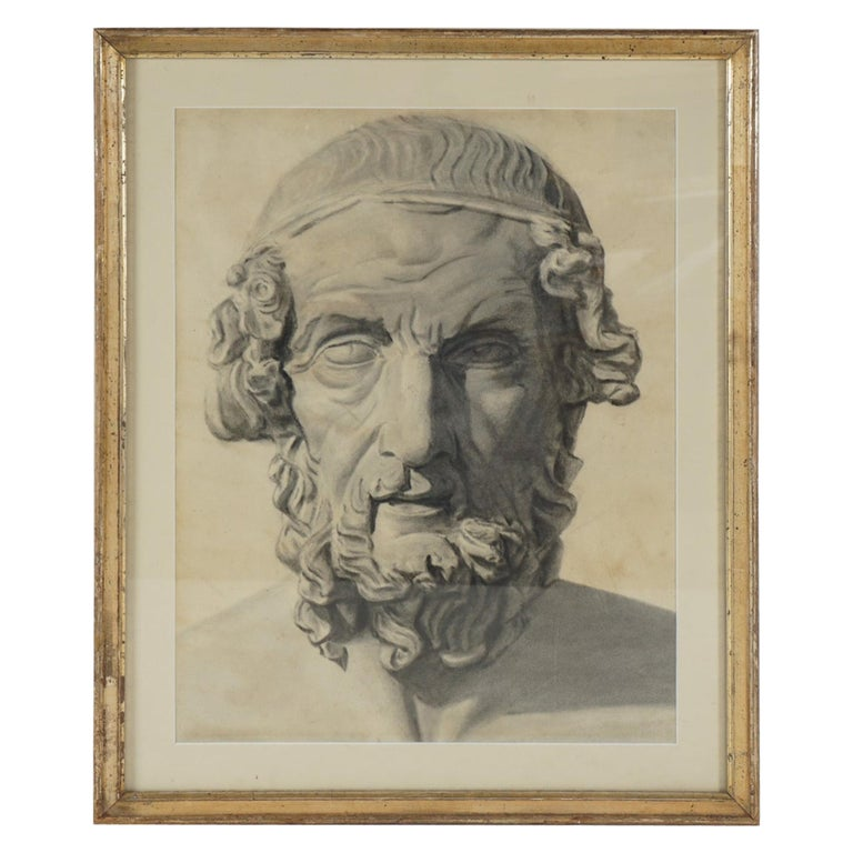 Late 19th Century Academic Drawing of Homer For Sale