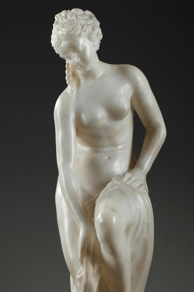 Neoclassical Late 19th Century Alabaster Statue, Bather by Guglielmo Pugi